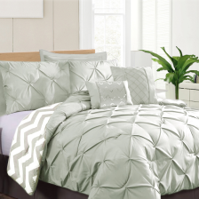 7 Piece Pinch Pleat Comforter Set - King Teal