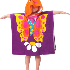 Kids Hooded Toweling Poncho